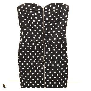 Black White Polkadot Strapless Cocktail Dress